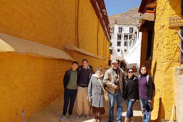 Tourists in Lhasa in April