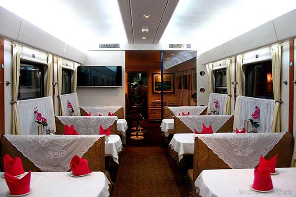 Dining carriage on the train
