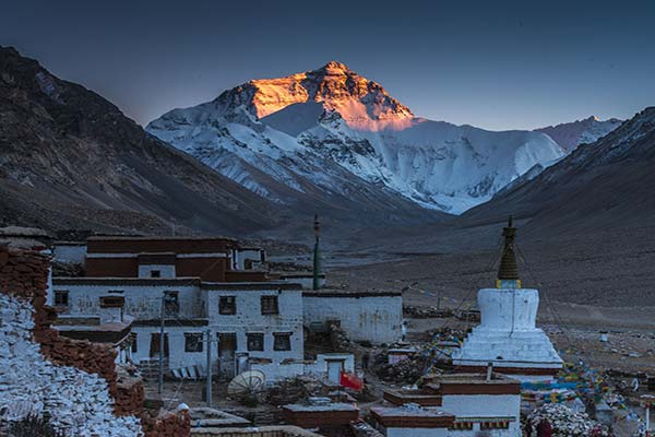 Rongbuk Monastery and Mount Everest