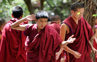 Sera monastery, tibet, monks , monk debating session