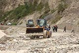 Road disruption caused by debris flow in Zhongba