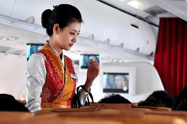 A stewardess from Tibet Airlines