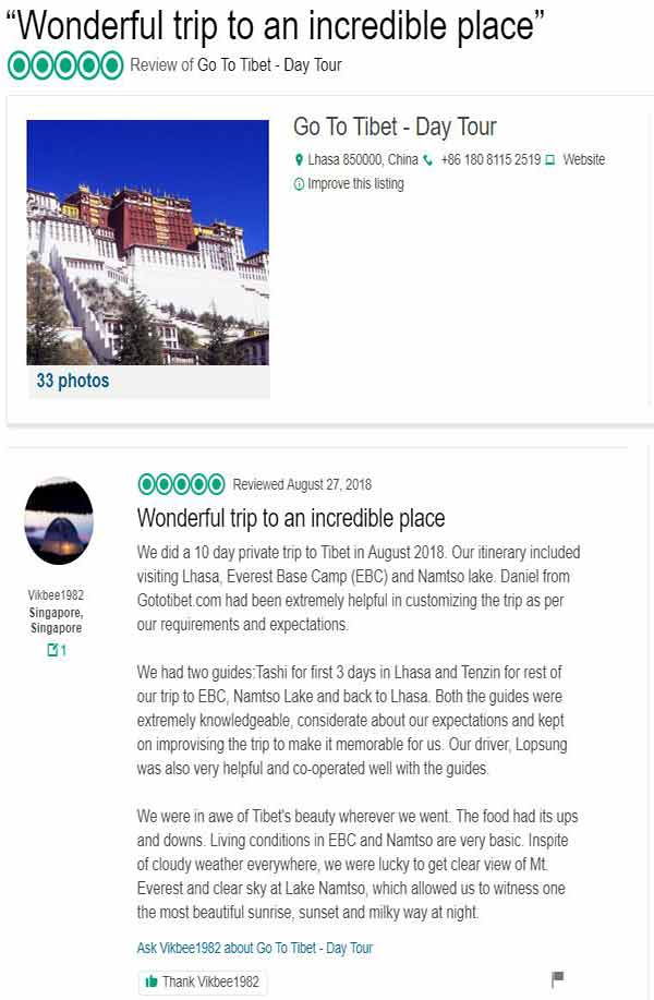 Tibet Tour Feedback from TripAdvisor