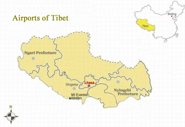 airports in tibet, tibet airports, flight to tibet,