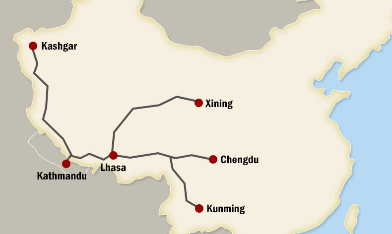 Map of China to Nepal by Drive